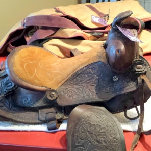 """Kid's western saddle, seat size 12"""", missing cinch attachments (total parts value, approx. $15) $50"""